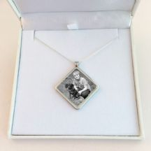 Memorial Necklace with Photo, Diamond Pendant, Sterling Silver Chain